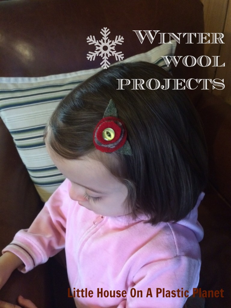 Upcycled Wool Flower Hair Clip